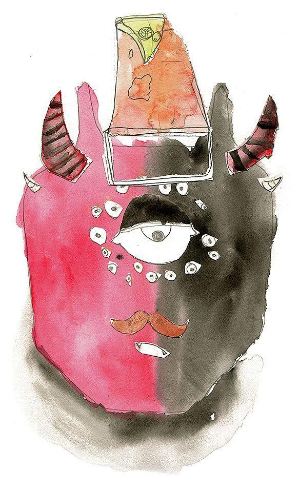 Monstruo de seis cuernos y 18 ojos con una cubeta de sombrero, una porción de pizza y mostachos - Autor: Valentino Rossi (10)