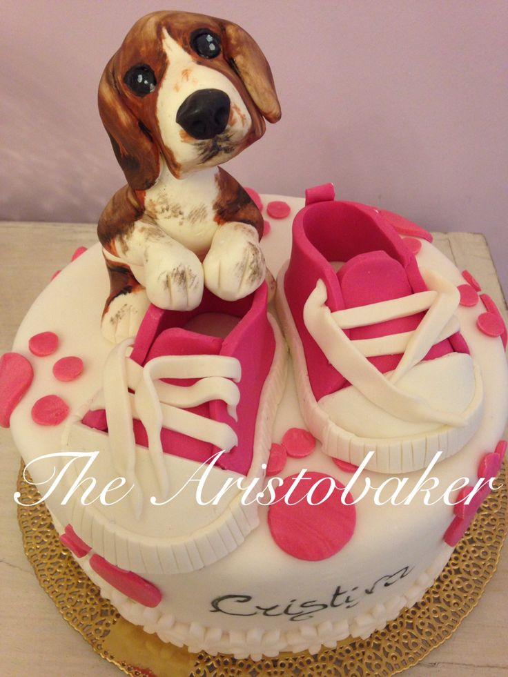 Baby and Beagle puppy cake