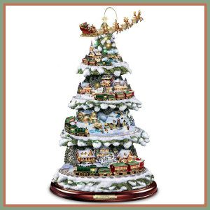 Thomas Kinkade Wonderland Express Animated Tabletop Christmas Tree With Train by Hawthorne Village This Thomas Kinkade, animated tabletop Christmas tree, boasts four levels of rotating movement (including Santa and his reindeer). 12 brilliantly illuminated buildings and over 2 dozen handcrafted figures. http://theceramicchefknives.com/ceramic-christmas-trees/