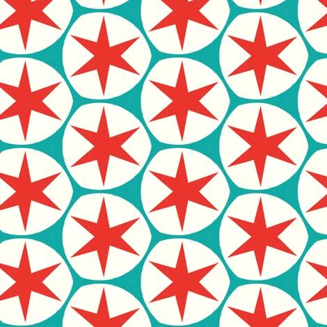 Retro red stars fabric pattern