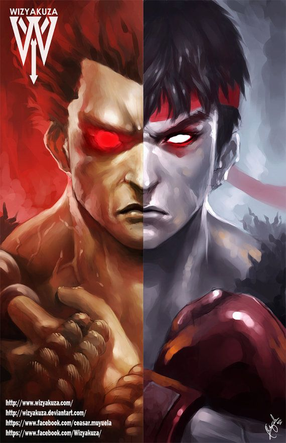 Akuma (Gouki) y Ryu Split - Street Fighter - 11 x 17 impresión Digital