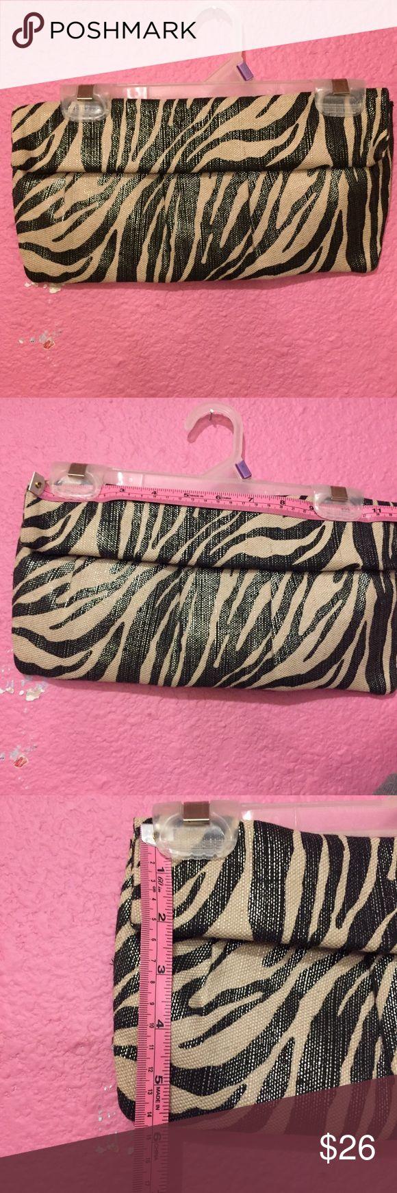 Zebra print cloth clutch handbag purse. Black & ta Zebra print cloth clutch handbag purse. Black & tan Style & Co Bags Clutches & Wristlets