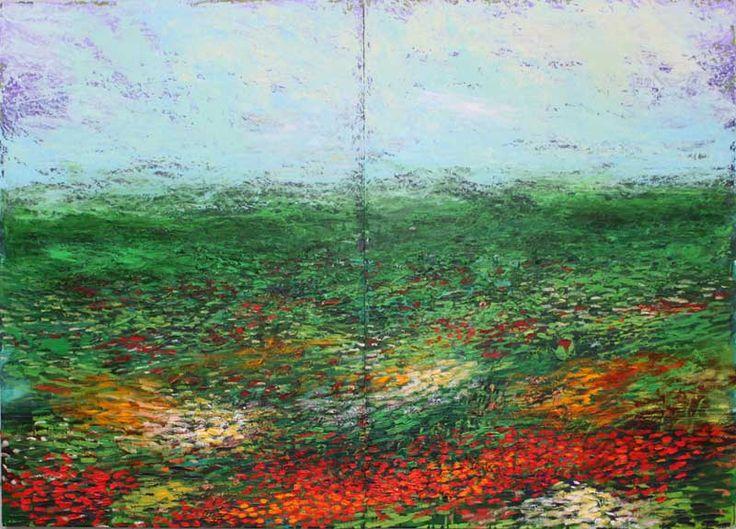 Patrick Grieve - Poppies & grassland at Bett Gallery Hobart