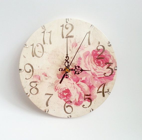 CHRISTMAS SALE Romantic shabby chic decoupage wooden wall clock rose gift idea for her set