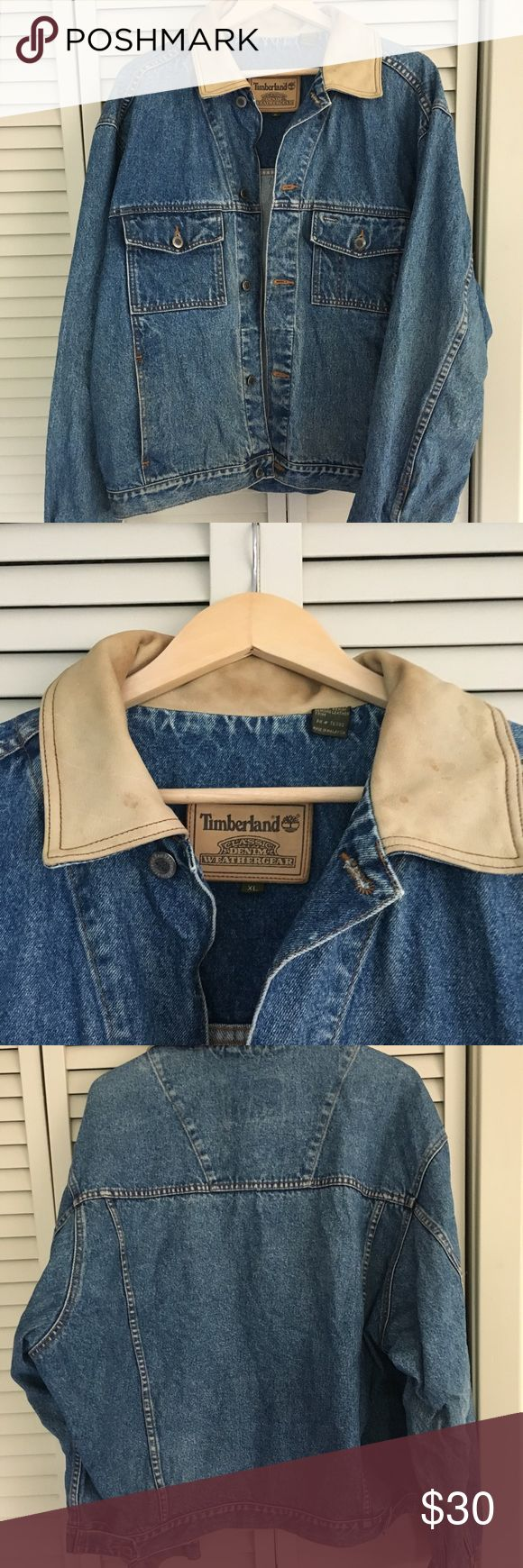 Men's timberland denim jacket Great vintage denim piece. Leather collar with small stains and minimal wear as seen in pic 2. Timberland Jackets & Coats Lightweight & Shirt Jackets