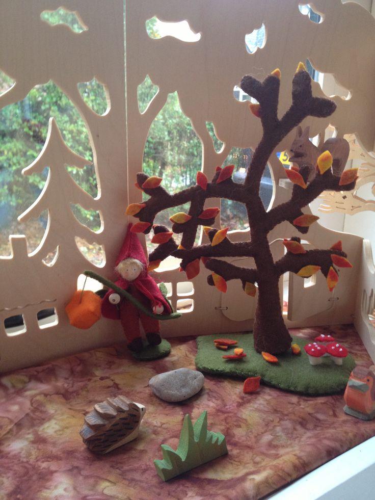 St maarten vilt seizoenstafel herfst, autumn nature table