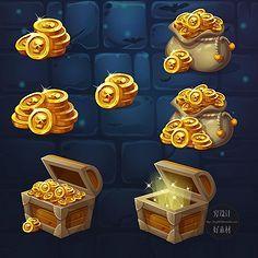 主编在线采集到图标——宝箱,钱袋,钱币类收藏