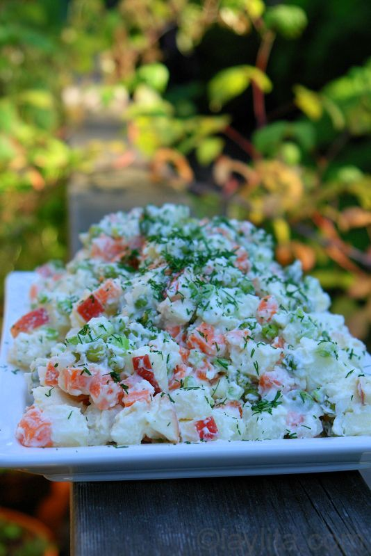Ensalada Rusa or Latin American Potato Salad...but Russian. It's confusing, I know, but read the blog :)