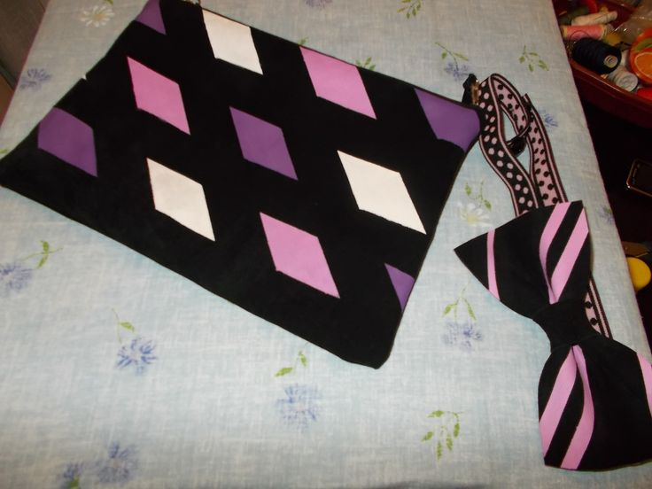 Suede painted purse and matching papillon