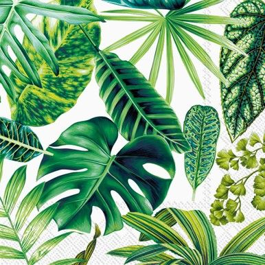 Exotic Leaves White napkins feature a collage of jungle or tropical plants in shades of green on a white background.