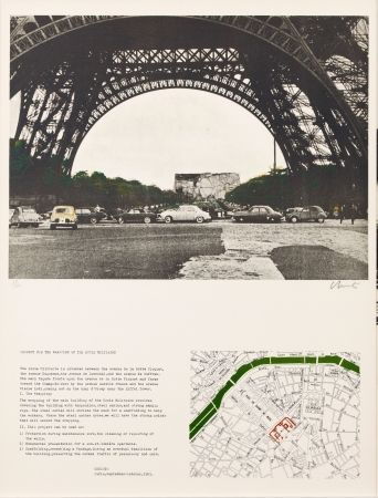Lithographie - Javacheff Christo - PACKED BUILDING PROJECT FOR THE ECOLE MILITAIRE PARIS