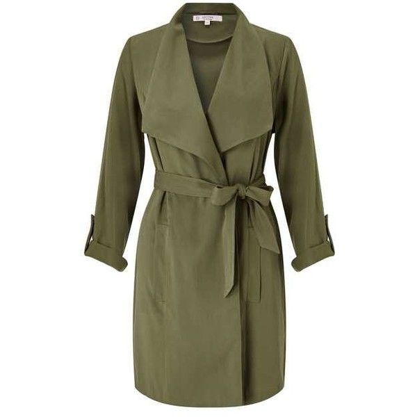 PETITE Khaki Duster Coat (115 CAD) ❤ liked on Polyvore featuring outerwear, coats, green duster coat, green coat, petite coats, khaki coats and miss selfridge