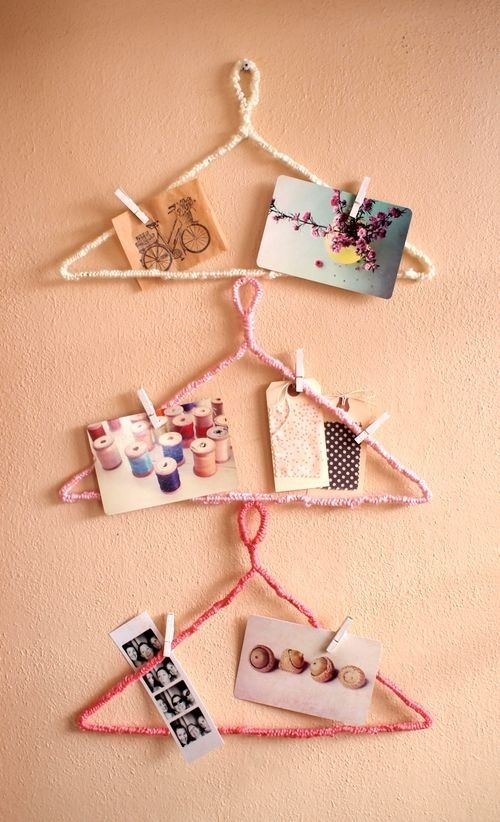 25. Hanger Inspiration Board (wrap yarn around hangers, use painted clothespins…