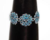 Joyful Dancing Turquoise Sun Star Bracelet Mesoamerican Jewelry Taxco Mexico