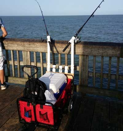 closeup of fishing cart with telescopic rod holders made from pvc