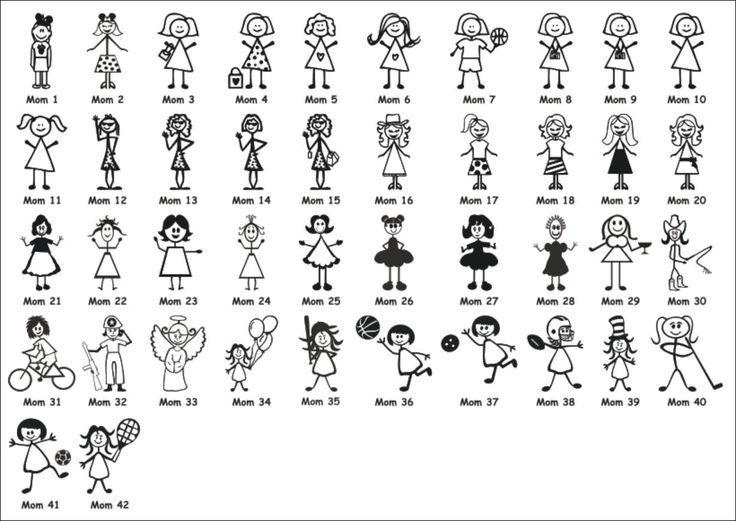 Stick figure moms   Drawing/tekenen   Pinterest