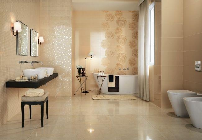 badezimmer fliesen atlas concorde beige mosaik rosen glasiert