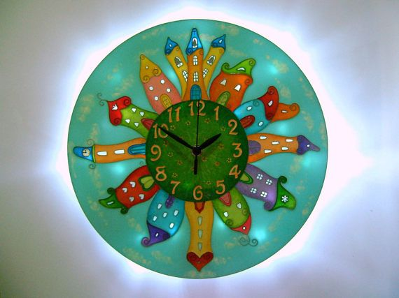 Fairy-Tale City Light-up Wall Clock, Kids clock, Girls clock, Silent clock, Large wall clock