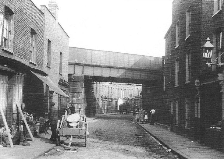 looking south-west towards Narrow Street and the Thames Limehouse Causeway c1908, part of the Great Eastern line to Blackwall