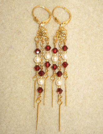 Swarovski Chandelier Chain Earrings  Garnet