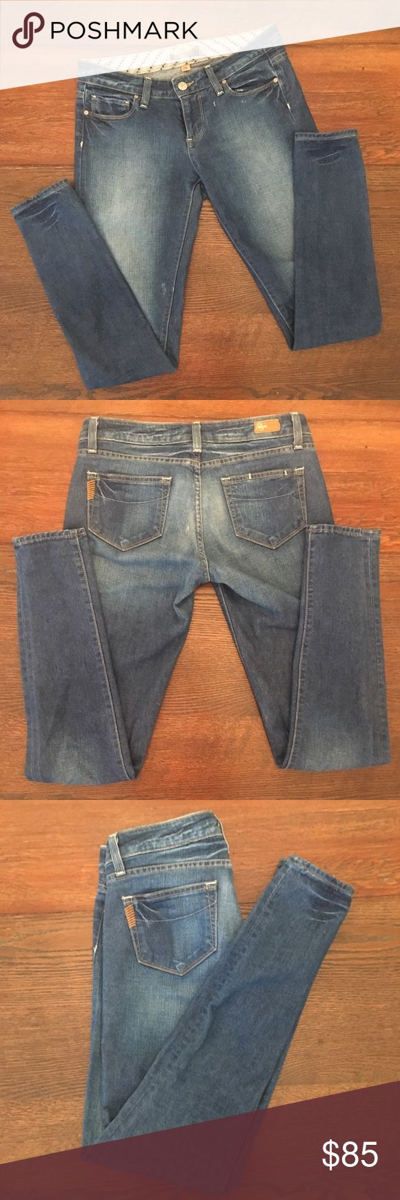 """Paige Premium Denim Jeans Paige Premium Denim Jeans, size 26.  Inseam is about 30.25"""", 5"""" across bottom of cuff, 15.5"""" across top of waist laying flat.  There are distressed marking throughout, they came like this.  Super skinny, and not much stretch.  No trades or modeling.  Bundle to save. Paige Jeans Jeans Skinny"""