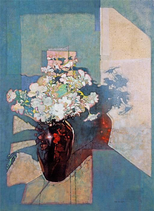 Red Vase Pink Flowers by Michael Dudash