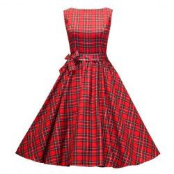 Vintage Scoop Neck Pleated Checked Sleeveless Red Country Tartan Dress For WomenVintage Dresses   RoseGal.com