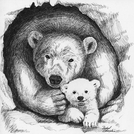 Se trata de una copia de mi original pluma y tinta de dibujo de un oso polar mamá y bebé. Me encanta hacer arte que representa las relaciones, como este que evoca el amor protector de una madre o padre y su bebé.  La impresión tiene un tamaño para caber en un marco de imagen cuadrada de 8 x 8. Esta impresión no viene con un marco, pero es cuidadosamente por correo en una manga protectora de impresión.  Mi proceso: después de terminar una pintura o un dibujo, analizar la obra de arte e…