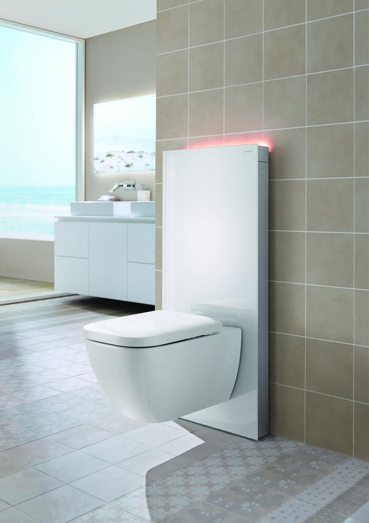 Geberit Monolith Plus in wit glas, met ComfortLight instelbaar in 7 kleuren