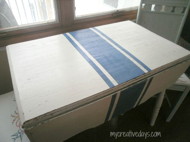 DIY Grain Sack Striped Table