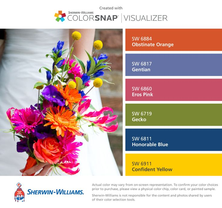 I found these colors with ColorSnap® Visualizer for iPhone by Sherwin-Williams: Obstinate Orange (SW 6884), Gentian (SW 6817), Eros Pink (SW 6860), Gecko (SW 6719), Honorable Blue (SW 6811), Confident Yellow (SW 6911).