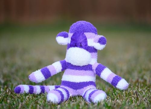 Handmade purple striped soft toy sock monkey / gift