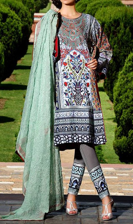 Buy Dark Grey Embroidered Cotton Lawn Dress by Zahra Ahmed Eid Collection Collection.