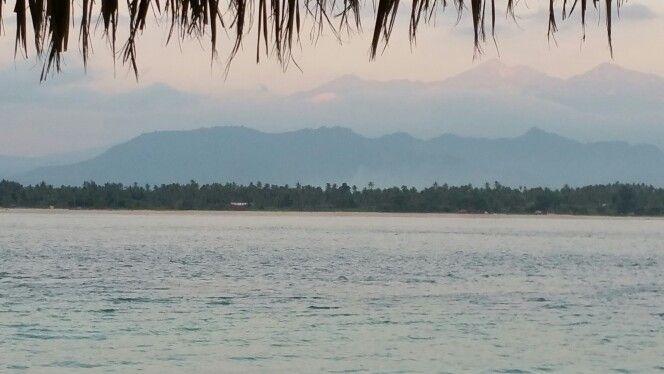 Gili Air, view to Lombok at sunset