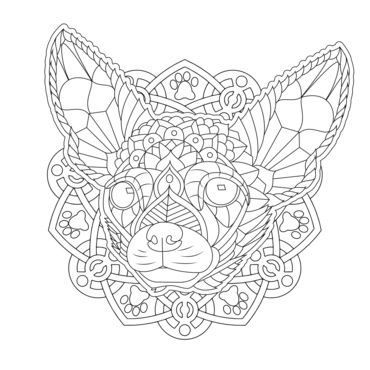 Ornate chihuahua from my decorative dogs adult coloring for Chihuahua coloring pages