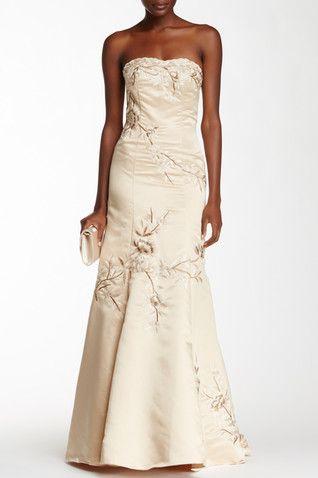 Fl Embroidered Satin Dress