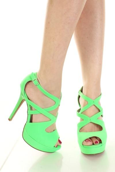 Neon Green Lycra Cut Out Strappy Peep Toe Platform Heels