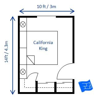 A bedroom size of 10 x 14ft would fit a california king for Bedroom size