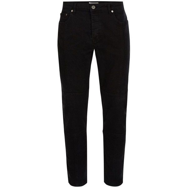 TOPMAN Black Panelled Stretch Skinny Jeans (190 BRL) ❤ liked on Polyvore featuring men's fashion, men's clothing, men's jeans, black, mens stretchy jeans, mens stretch skinny jeans, mens skinny jeans, mens super skinny stretch jeans and mens skinny fit jeans