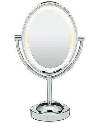 conair oval polished chrome double sided lighted makeup mirror. Black Bedroom Furniture Sets. Home Design Ideas