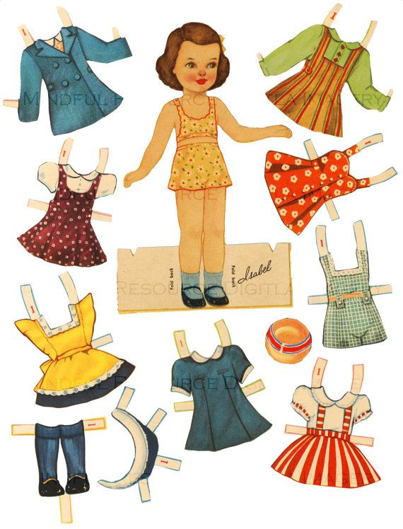Printable Vintage Paper Doll 1940's Retro Girl by mindfulresource