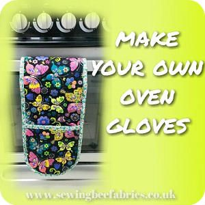 Free sewing tutorial - How to make your own pattern with photo instructions on how to sew heat proof oven gloves.