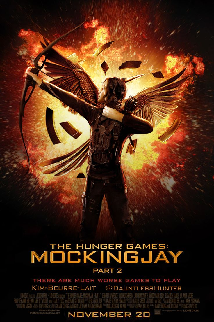 "kim-beurre-lait:  The Hunger Games : Mockingjay Part 2      FanMade Poster  Explanations : I wanted a position that fits the Mockingjay symbol from this Part 2 & it reminds me of THE SCENE at the end of the book when Katniss shoots THE ARROW (last lines of Chapter 26) + I realized that we see Katniss farther and farther through the posters (Her face for ""Hunger Games ~ Her bust for ""Catching Fire"" ~2/3 of her body for ""Mockingjay Part 1"") so I decided to put a full body for this one !  Hope…"