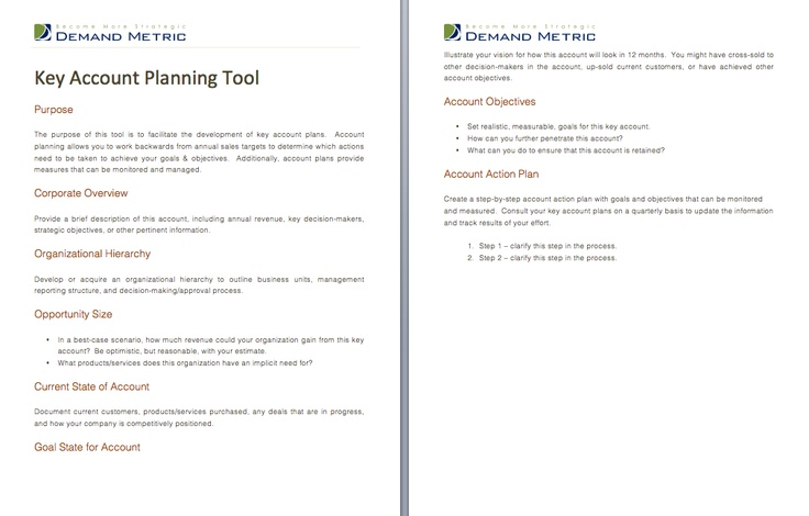 key account planning tool use this tool to create an