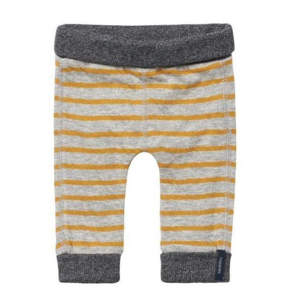 Leggins de algodón para bebé a rayas amarillas y grises de Noppies. #modabebe #modainfantil #ropabebe #ropainfantil