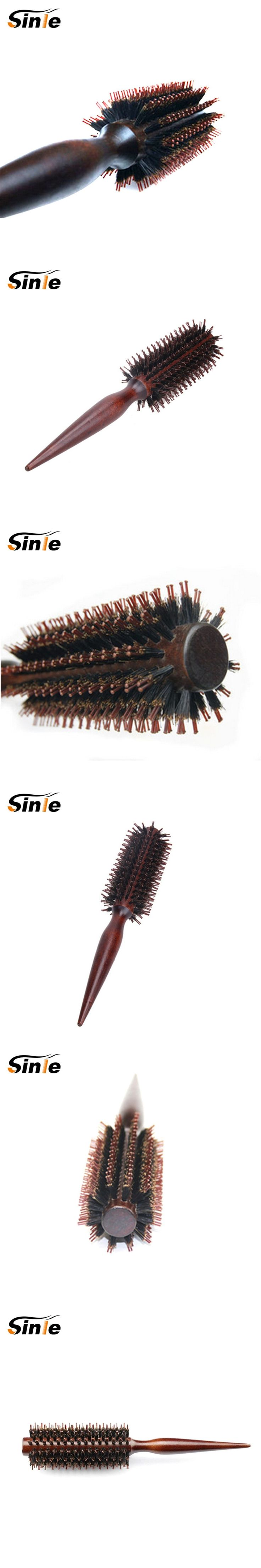 Roll Round Comb Brush Hair Care Tool Wood Handle Natural Bristle Curly Hair Brush Fluffy Comb Hairdressing Barber Tool