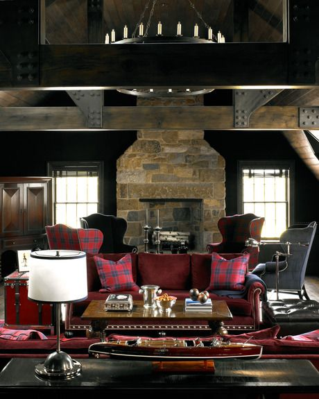 "Scott Sanders designs a ""Man Room"" by using oxblood couches"