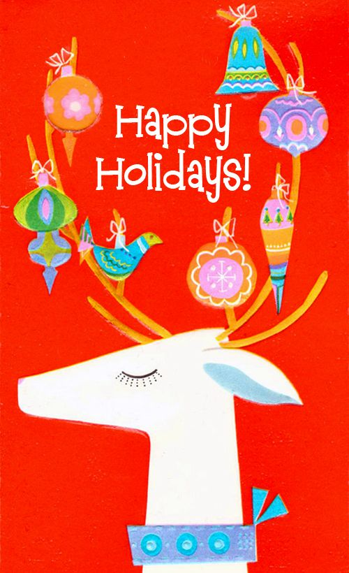 Contemporary Christmas card with Reindeer and Ornaments.