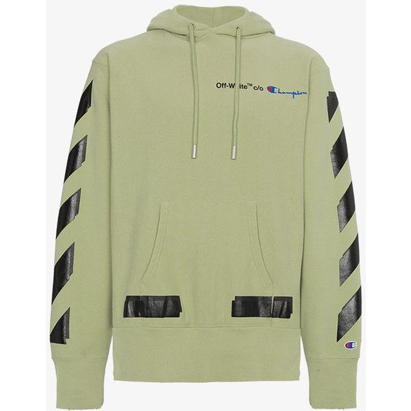 Off White X Champion Hoodie With Logo 705 Liked On Polyvore Featuring Men S Fashion Men S Cloth Mens Sweatshirts Hoodie Patterned Hoodies Champion Hoodie