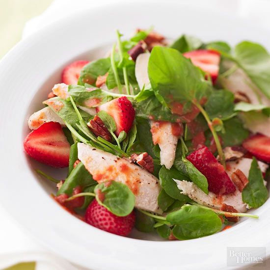 Yes, you can make a fresh, chicken-topped salad with a homemade dressing in just 30 minutes. This sweet, simple recipe is loaded with heart-healthy potassium thanks to spinach and strawberries.